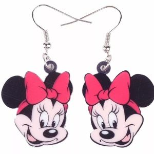 Minnie Mouse with Red Bow Acrylic Earrings